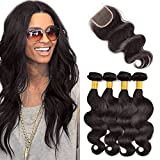Originea TM Best 7A Indian Body Wave 100% Human Hair Weft 4 Bundles Per Lot With Freestyle Closures