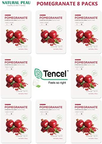[8 Packs] Natural Peau Pomegranate Hydrating Collagen Essence Face Mask (28 g / 0.99 oz.)