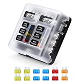 VETOMILE 6-Way Blade Fuse Block Independent Circuits 32V Fuse Box with LED Indicator for Automotive Boat Marine RV Truck Waterproof PC Cover 5A 10A 15A 20A