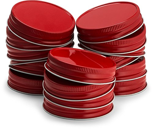 KooK Mason Jar Lids Regular Mouth, Leak Proof and Secure, Red, Gold, Silver, White, 16 pack (Red)]()