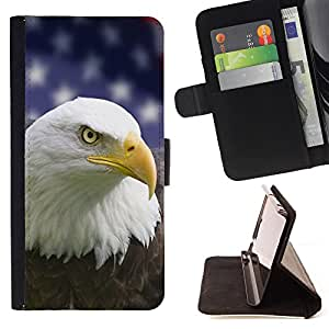 Devil Case- Estilo PU billetera de cuero del soporte del tirš®n [solapa de cierre] Cubierta FOR HTC One M7- Bald Eagle American