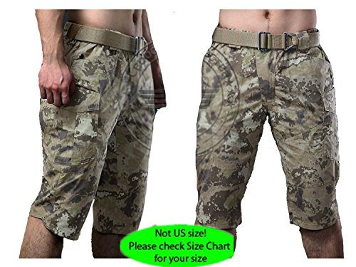 H World Shopping Military Army Combat Cool Hiking Mens BDU 3/4 Short Pants Multi Pouch Iron Camo (All Terrain Camo, (All Terrain Digital Camo)