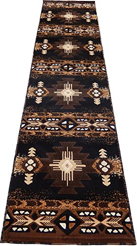 Southwestern Apache Woven 3x10 Area Rug Black Brown Runner Actual Size 2'3x10'10