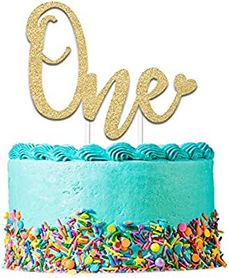 Pink One Cake Topper Glitter Cake Topper First Birthday Cake Smash 1