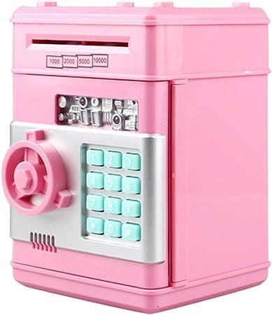 ACOMG Hucha electrónica, cajero automático de Ahorro de cajeros automáticos para niños, Estuche de Bloqueo de contraseña con Varios Botones, Gran Juguete de Regalo para niños,Pink: Amazon.es: Hogar