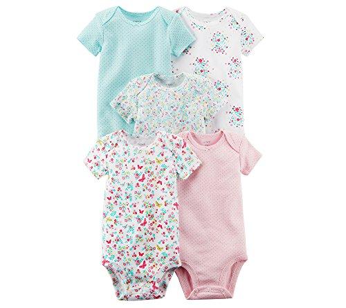 (Carter's Baby Girls' 5 Pack Floral Bodysuit Set 9 Months)
