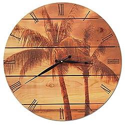 Gizaun Art Vintage Tropic Wood Clock 24 - Outdoor Safe