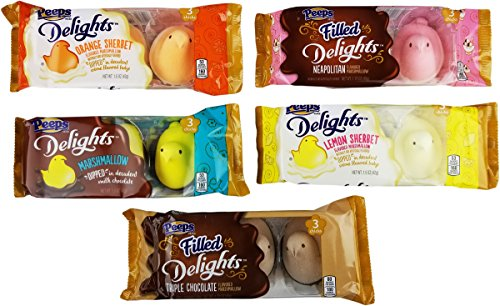 Marshmallow Peeps Filled Delights Candy Chicks Variety Pack Easter Collection - Marshmallow Neapolitan Orange Lemon Sherbet Triple Chocolate Fudge Dipped - 1.5 - 1.75 Oz. - 5 Pack