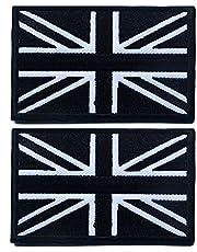 Tacvasen Sticker, 2 delen – met motief vlag van het Verenigd Koninkrijk, patch, geborduurd, om op te naaien of op te strijken, heren, zwart/wit