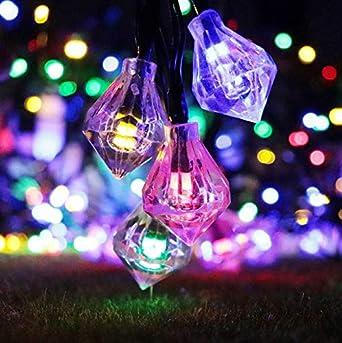 Linfei Cuerda De Luz Solar 20Led Diamante Jardín Valla Linterna Decorativa Día De Navidad Cadena De Luz Led Cadena De Jardín Luz 4,8 Metros (Blanco): Amazon.es: Iluminación