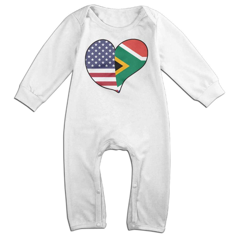 Mri-le1 Newborn Baby Long Sleeved Coveralls USA South African Flag Heart Infant Long Sleeve Romper Jumpsuit