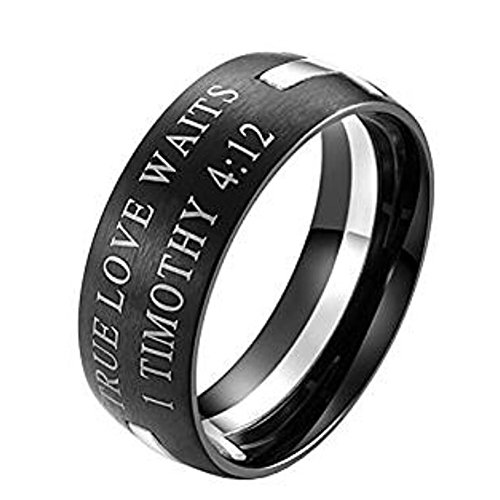 JAJAFOOK Jewelry Men's Stainless Steel 1 Timothy 4:12 Bible Verse Cross Prayer Ring Gold and Silver