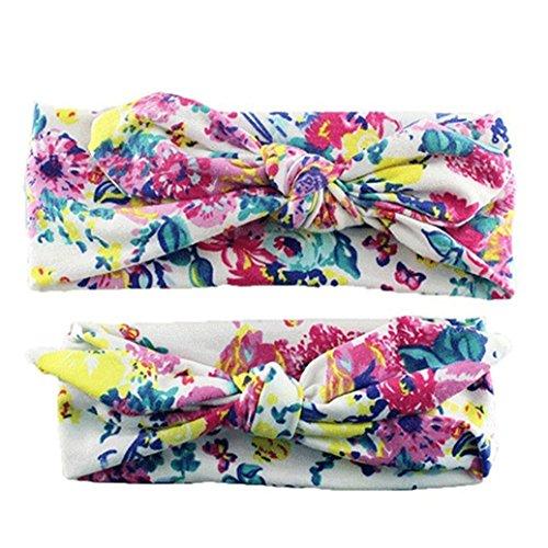 Catnew 2Pcs Fashion Mom Baby Cute Beautiful Elastic Floral Bowknot Headbands Hair Bands