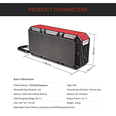 PECHAM Waterproof Bluetooth Speakers Wireless CSR 4.0 10W Drivers Super Bass Stereo Sound 10 Hours Playtime Outdoor Portable Universal Compatibility for iPhone iPad Android Smartphone
