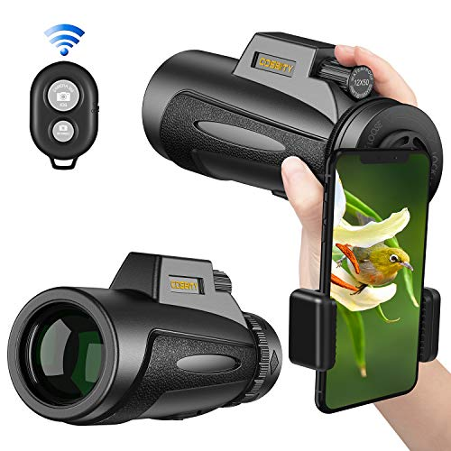 Monocular Telescopes, 12x50 High Power Prism Spotting Scope for Adults with Cell Phone Photography Adapter and Wireless Camera Shutter Remote Control for Bird Watching/Hunting/Camping/Travelling