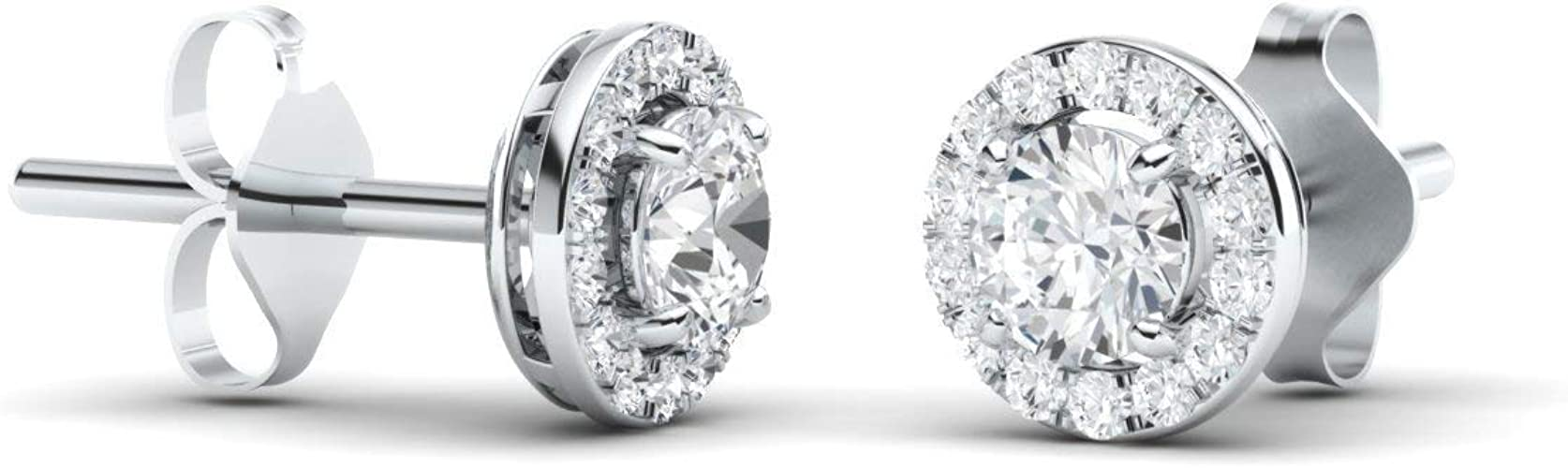 Solid 10k White Gold Square Stud Earrings Cubic Zirconia CZ ~ April Birthstone