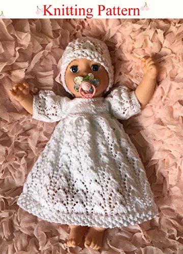 Knitting Patterns Baby Dresses - Dress and Hat Knitting Pattern (no.54) to fit a newborn baby or 15 to 18 inch doll