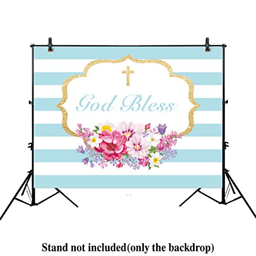 Allenjoy 8x6ft photography backdrops Boys Baptism First Communion Christening floral Birthday God Bless Party baby shower banner photo studio booth background photocall