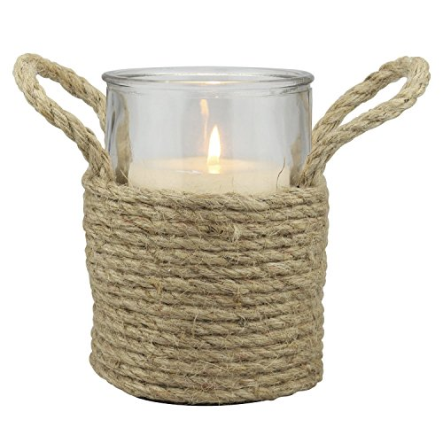(Stonebriar Nautical Rope Wrapped Pillar Candle Holder with Rope Handles, Coastal Home Decor, Decorative Piece for Living Room, Dining Room, Bathroom, and Bedroom, Tall)