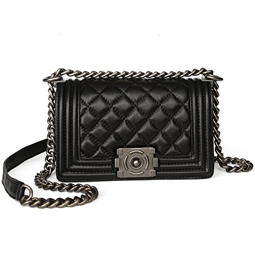 GUANGMING77 Single Schultertasche Handtasche_Rhombus Chain Bag Lady Schultertasche Large black yOh737a9