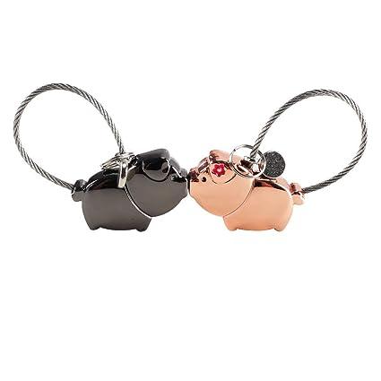 NACTECH 1 par Llaveros para Parejas Magnético Desmontable Besos Cerdo para Pareja Mujer Hombre Amantes Regalo Amor San Valentín Cumpleaños Aniversario ...