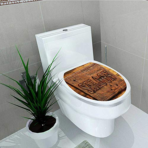 (Printsonne Bathroom Toilet Board Salo Wooden Wall Restaurant Carving Country Style Vinyl Decal Sticker W13 x L16)