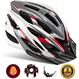 Basecamp Specialized Bike Helmet with Safety Light,Adjustable Sport Cycling Helmet Bicycle Helmets for Road & Mountain Motorcycle for Men & Women,Youth Safety Protection (WhiteRedGrey-BigLight)