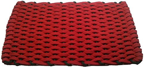 Rockport Rope Doormats 2030292 Christmas Doormats, 20 by 30-Inch, Red with Green Insert (Christmas Frontgate Doormats)