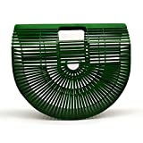 Women Bamboo Purse Handmade Handbag Large Tote Bag Green