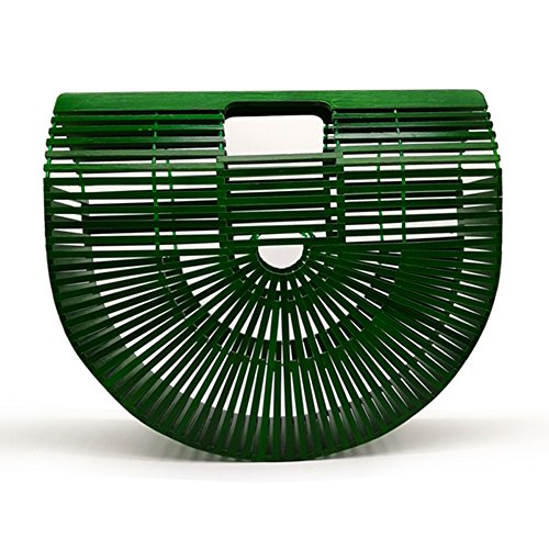 Women Bamboo Purse Handmade Handbag Large Tote Bag Green by vodiu