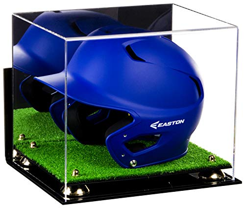 Deluxe Acrylic Baseball Batting Helmet Display Case with Mirror, Wall Mount, Gold Risers and Turf Base (A012-GR)