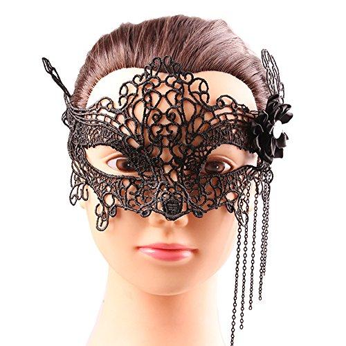 (Venetian Masquerade Mask Women's Halloween Party Lace Mask Nightclub Fox Masquerade Black)