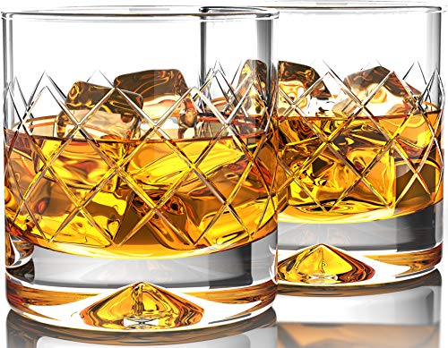 Premium Whiskey Glasses (12oz Set of 2) - Lead Free Hand Blown Crystal - Thick Weighted Bottom - Seamless Handmade Design - Perfect for Scotch, Bourbon, Manhattans and Old Fashioned ()