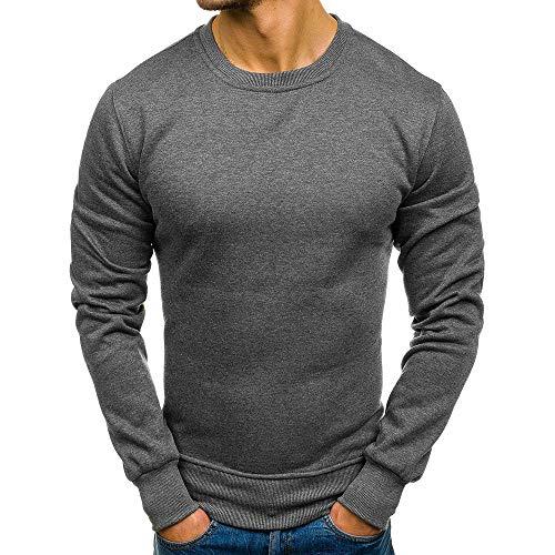- Dressin_Men's Clothes Men's Fashion Pure Slim Long Sleeve Autumn Winter Casual Sweatshirt Top Blouse Tracksuits