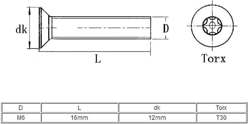 sourcing map Tornillo de sabotaje M6x16mm de Acero inoxidable 304 de cabeza plana Torx cinco l/óbulos 10 piezas