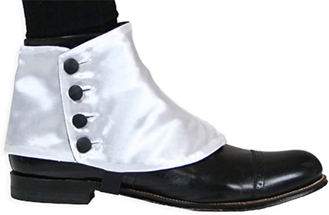 Steampunk Boots and Shoes for Men Historical Emporium Mens Premium Satin Button Spats $35.95 AT vintagedancer.com