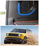 FMtoppeak Blue ABS Accessories Decoration Rear Trunk Storage Bag Net Frame Trim Cover For 2014 UP Jeep Renegade