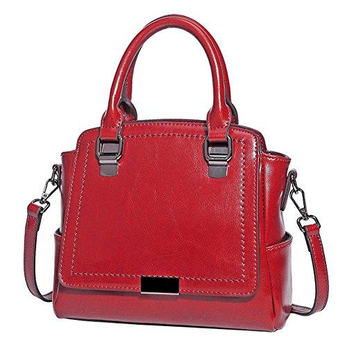 Hopeeye Woman Trends Tendance Sac à dos en peau de vache Sac à main Messenger Bag Cuir élégant (marron) 3-rouge