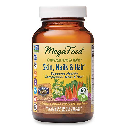 MegaFood, Skin, Nails & Hair, Supports Healthy Complexion, Nails & Hair, Multivitamin & Herbal Dietary Supplement, Gluten Free, Vegan, 60 Tablets (20 Servings) from MegaFood