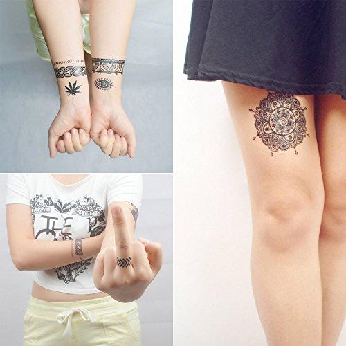 Cokohappy 4 Sheets Black Lace Temporary Tattoo Wedding Dream