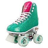 Crazy Skates Glam Roller Skates for Women and Girls - Dazzling Glitter Sparkle Quad Skates - Teal with Purple