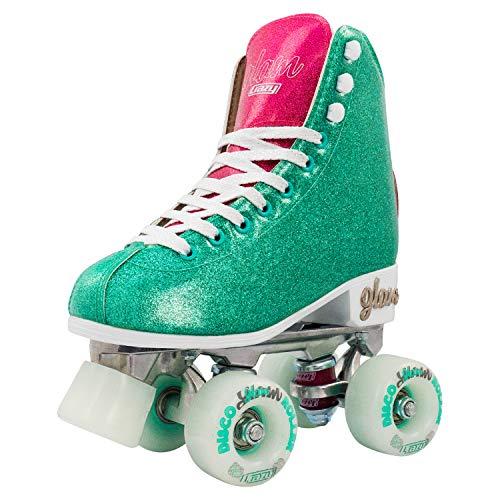 Crazy Skates Glam Roller Skates for Women and Girls - Dazzling Glitter Sparkle Quad Skates - Teal with Purple (Size 9.5)