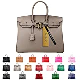 SanMario Designer Handbag 40cm/16'' Oversized Top Handle Padlock Women's Leather Bag with Golden Hardware Taupe/Grey
