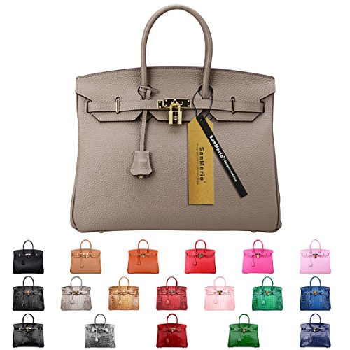 SanMario Designer Handbag Top Handle Padlock Women's Leather Bag with Golden Hardware Taupe/Grey 35cm/14'' by SanMario