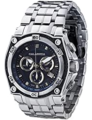 CALABRIA - AVIATORE - Blue Dial Chronograph Mens Watch with Carbon Fiber Bezel and Stainless Steel Band