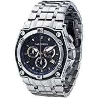 CALABRIA - AVIATORE - Blue Dial Chronograph Men's Watch with Carbon Fiber Bezel and Stainless Steel Band
