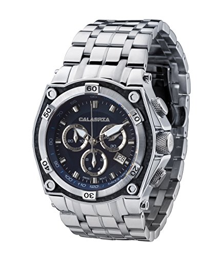 (CALABRIA - AVIATORE - Blue Dial Chronograph Men's Watch with Carbon Fiber Bezel and Stainless Steel Band)