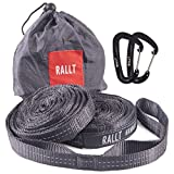Rallt Hammock Tree Straps - 2000+ LB Breaking Strength, 20 Feet Long, 36 Loops. 100% No Stretch Polyester Suspension Straps Like Python and ENO Atlas Straps