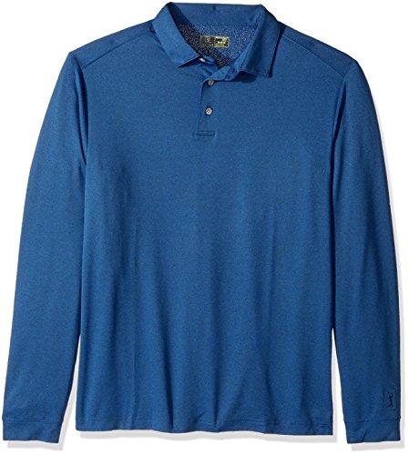 PGA TOUR Men's Airflux Long Sleeve Polo Shirt, Navy Heather_PVKF70B7, XL