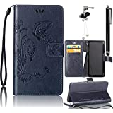 Samsung Galaxy Grand Prime G530 Case, Bonice 3 in 1 Accessory PU Leather Flip Practical Book Style Magnetic Snap Wallet Case with [Card Slots] [Hand Strip] Premium Multi-Function Design Cover + Black Stylus Pen + Diamond Rhinestone Butterfly Antidust Plug, Dark Blue